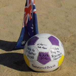 End of day 1 - Official Beyond Bank soccerball being retired