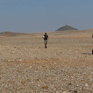 Walking across the gravel plains to join C26 to Windhoek