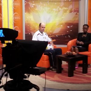 Photo of Day 13 - Matt being interviewed on Good Morning Namibia