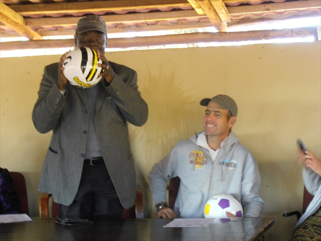 Chief of Charleshill community with donated balls