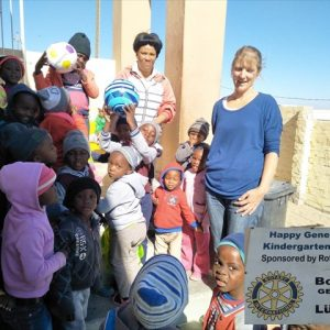 Wendy gives out balls to schools in Luderitz